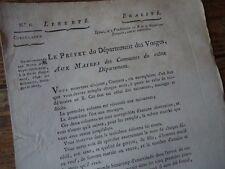 LORRAINE VOSGES REVOLUTION 1800 CIRCULAIRE ETAT CIVIL NAISSANCE DECES MARIAGE