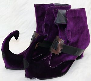 Women's Ellie Size 10 Purple Suede Faux Velvet Witch Elf Costume Shoes