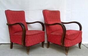 Pair of Art Deco Armchairs. Club Cocktail Chairs. Antique Vintage 1920 Halabala