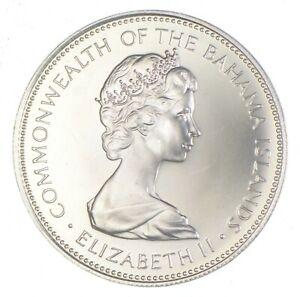 SILVER - WORLD Coin - 1973 Bahama Islands 1 Dollar - World Silver Coin *769