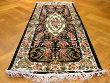 Black - Ivory Runner Most Desirable Hand-Knotted Rug 3' X 6' Artificial Silk