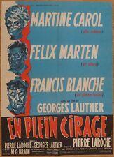 EN PLEIN CIRAGE G. Lautner M. Carol 1962 Affiche Originale 60x80 Movie Poster