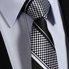 à carreaux Cravate Hommes Noir Blanc Argenté solde RAYURE SOIE de Mariage Cadeau