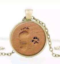 Halskette Cabochon Glas Anhänger Hundepfote Nostalgisch Bronze Mode Schmuck