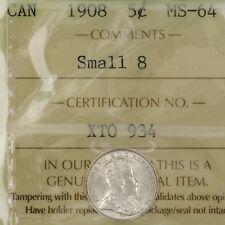 1908 Canada 5c Small 8 ICCS MS-64