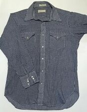 New listing Vintage 70s Sheplers Western Shirt Pearl Snaps Large Blue Gingham Single Needle