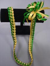 Hawaiian Braid Metalic Edge Ribbon Lei Green and Yellow Gold