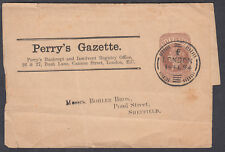 1894 QV Perry's Gazette QV 1/2d brown Newspaper Wrapper to Sheffield