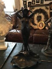 ANTIQUE VILLANIS SIGNED BRONZE LADY STATUE SEA SHELL OCTOPUS STUNNING DETAILS