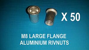 50 X ALUMINIUM RIVNUTS M8 NUTSERT RIVET NUT LARGE FLANGE NUTSERTS RIVNUT RIV NUT