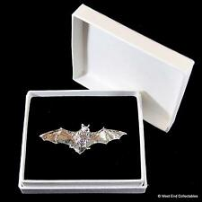 Bat in Fight Pewter Pin Brooch in Gift Box- Vampire Halloween Badge Present