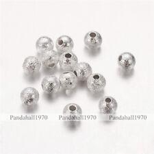 1000 Pcs Silver Round Nickel Free Brass Stardust Beads Crafts Jewelry Making 4mm