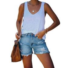 Damen Jeans Shorts Destroyed Denim Shorts Kurze Hose High Waist Hotpants Stretch