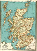 1937 Antique MAP of SCOTLAND Map United Kingdom Scotland Gallery Wall #7655