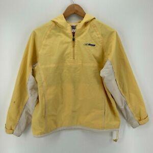 Reebok Windbreaker Jacket Women's S Yellow 1/4 Zip Vintage 1990's Spellout Logo