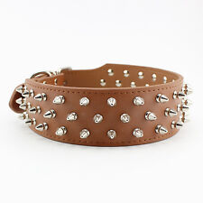 Spiked Large Dog Collar Real Leather Color Red Black Pink Brown Rose