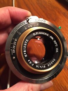 Beautiful Goerz GOLD RIM Dagor 8 1/4 Inch F/6.8 Compur Shutter Large Format Lens