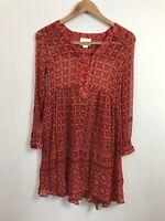 Anthropologie Maeve Women's Red Long Sleeve Sheer Flare Dress Size 0 Geometric