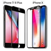 Fit iPhone 11 Pro Max  8 Plus X 3D Full Coverage Tempered Glass Screen Protector