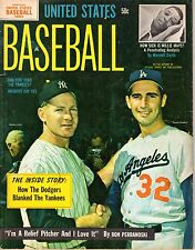 1964 United States Baseball magazine,Sandy Koufax,Dodgers,Whitey Ford,Yankees~VG