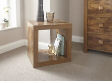Particle Board Study Walnut Mango Effect Cube Square End Lamp Side Table