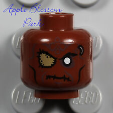 NEW Lego ZOMBIE MINIFIG HEAD - Dark Flesh Brown Monster Alien Pirate Eye Patch
