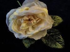 "Millinery Flower 4"" Ivory HintPink Velvet Organdy for Hat Wedding or Hair KM3 D"