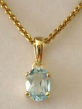 GENUINE  9K  9ct  SOLID  Gold  MARCH  BIRTHSTONE  AQUAMARINE BIRTHDAY Pendant