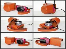 brown camera Leather case bag to Sony Alpha a5000 ILCE-5000L Kit 16-50mm NEX-3N
