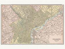 Old Vintage Decorative Map of Philadelphia Cram ca. 1901
