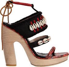 Dries Van Noten Red & Black Cowrie Shell & Wooden Platform Sandal 38 US 8 $1150