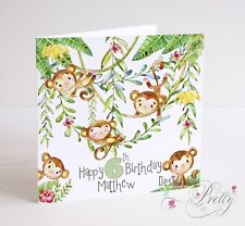 PERSONALISED CHEEKY MONKEY Birthday Card 3 4 5 6 7 Child Son Daughter Boys Girls