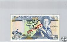 JERSEY SPECIMEN 20 LIVRES ND (1989) PICK 18 S RARE  !!!!