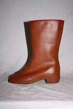 Vintage Waterproof Tall Brown Rubber Fur Lined Winter Rain Boots w Heel Sz 6