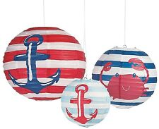 "Nautical Baby Shower Paper Lanterns 8"", 12"" and 16"" (3 Pack) Paper"