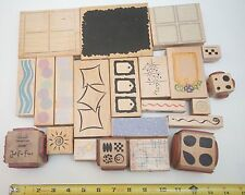 Lot Of 21 Rubber Wooden Stamps Assorted Shapes: Star, Square, Circle, Squiggle