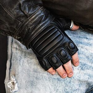 Men's Real  Leather Half Finger Biker Gloves Motorcycle Driving Tactical Padded