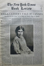 WILLA CATHER - SHADOW ON THE ROCKS - JACKSON U S GRANT WALDO 1931 August 2 Times
