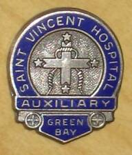 Vtg Saint Vincent Hospital Pin Auxiliary Green Bay WI Enamel/Sterling Silver St