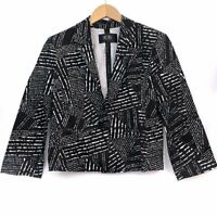 BCBG PARIS Black White Stripe Cropped Crop 3/4 Sleeve Blazer Suit Jacket 6 Small