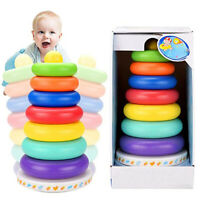 Kid Baby Toy Wooden Stacking Ring Tower Educational Toys Rainbow Stack Up Gift