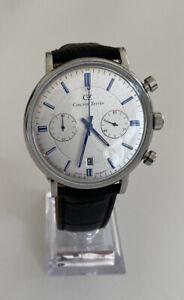 Carl von Zeyten Herren Uhr Armbanduhr Quarz Lederarmband weißes Zifferblatt!