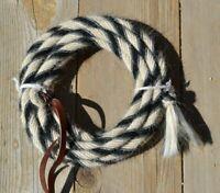 "Jose Ortiz Deluxe 5/8"" Angora Mohair Mecate Rope Reins 22'  White, Black, Grey"