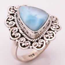 925 Sterling Silver Ring Size US 6.5, Natural Larimar Handcrafted Jewelry CR2703