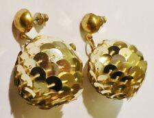 Bijou Vintage boucles d'oreilles percées boule disco paillette couleur or * 3451