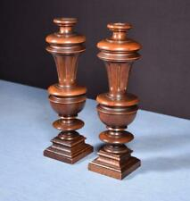 """*13"""" Pair of French Antique Solid Walnut Posts/Pillars/Columns/Balusters Salvage"""