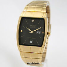NEW CITIZEN BATTERY QUARTZ WATCH for Men * Gold Tone * White Gift Box * 15D_M37