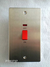 STAINLESS STEEL 45A DP SWITCH FLAT DOUBLE PLATE WITH NEON & RED ROCKER SBS72