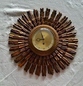 SYROCO Sunburst Clock Mid Century Modern 8 Day Jeweled Wall Key Wound