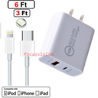 For iPhone 12 11 Pro Max XR XS 8 7 6 5 SE Plus 18W Cable PD Fast Charger Adapter